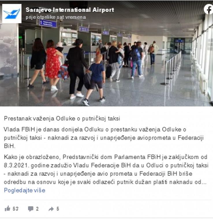 Oglasili se iz Sarajevskog aerodroma